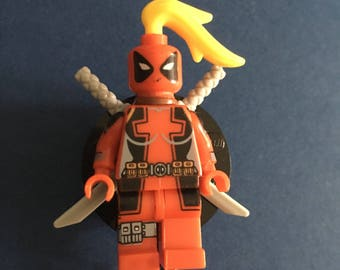 Lady Deadpool™ Marvel® Comic ID Holder Customized with Brick® Minifigure ~ Badge Reel ~ Belt Clip ~ Alligator Clip~ Keychain Cufflinks Nurse