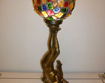 Large French Art Deco bronze patina lady dancer lamp with crack glass polychrome ball shade 1920s