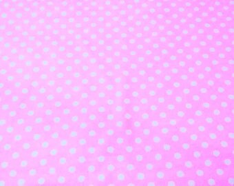 Dots Fabric, Flannel Fabric, Pink/White Dots Fabric, Baby Pink Flannel, Kids Fabric, Blanket/Quilt/Nursery/Crib, Flannel Fabric By Half Yard