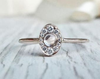 Halo Moonstone Ring, Moonstone and Diamond Wedding Ring, Gold Moonstone Ring, Unique Engagement Ring