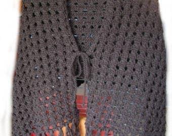 Poncho shawl Brown 70's vintage style