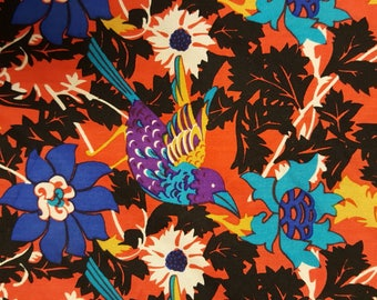 Signed Diane Fre's floral with birds scarf