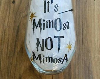 Wizard themed stemless wine glass