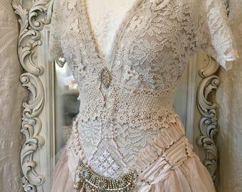 Wedding dress bohemian style,boho wedding dress,rawrags Wedding dress,shabby chic wedding,recycle ,rustic wedding dress,boho deluxe wedding