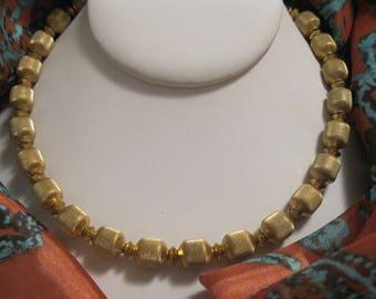 Elegant Vintage Trifari  Gold Tone Metal Barrel Bead Necklace