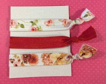 Floral Elastic Hair Ties: Set of Three