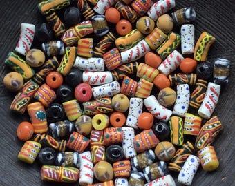 100 Loose African Powdered Glass Beads Mix. Ghana Krobo Beads.