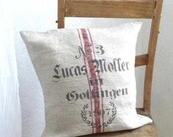 Cushion cover, Washed raw linen, printed  like faux-vintage german grain sack.