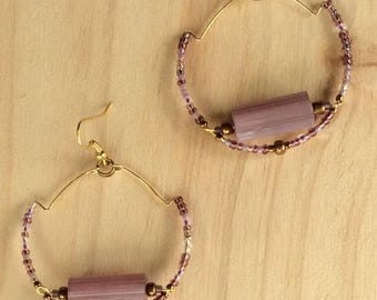 Stair Stepped Trapeze Hoop in Lavender and Gold