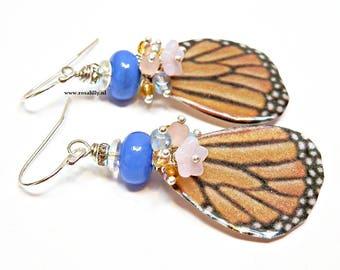 Fairy butterfly wing earrings, Monarch butterfly wing earrings, orange fairy earrings, Orange butterfly wing earrings, jewelry gift for her