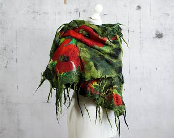 nuno felted silk scarf, felted  shawl, green, red, black felt scarf, poppy - Feltmondo