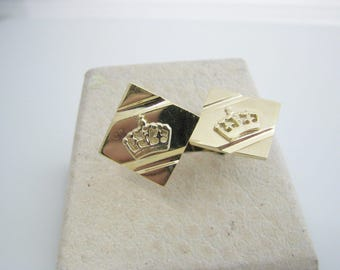 Handsome Retro Cuff Links with a Gold Crown attached to Top in 10k Yellow Gold