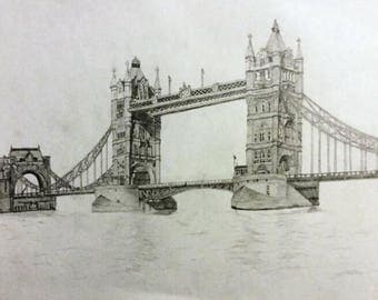 Detailed drawing of the Tower Bridge London, A4 Pencil Art. Original Artwork.