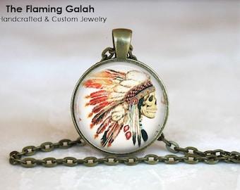 FEATHER HEADDRESS Pendant • Native American Headdress • Boho Feathers • BoHo Headdress • Gift Under 20 • Made in Australia (P1442)