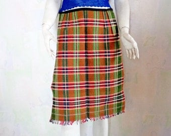 Vintage Apron, Wool Apron, Hand Woven Wool Apron, Bulgarian Folk Traditional Apron, Hand Woven Colorful Plaid Apron