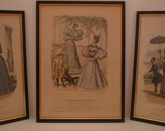 """1800's Antique Fashion Print from French Fashion Magazine """" Le Moniteur de la Mode """" 1895 Paris. Ladies Dress and child engraving frame"""
