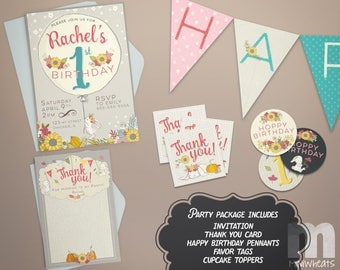 Bunny Brithday Party Package Printable Fall Party Pack, Party Favors, Invitation, Thank You Card, Favor Tag, Cupcake Toppers, Pennant Banner