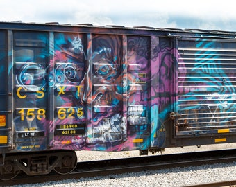 Inner Demon: Train are, graffiti. Frame not included. Individually photographed and printed by Frank Heflin