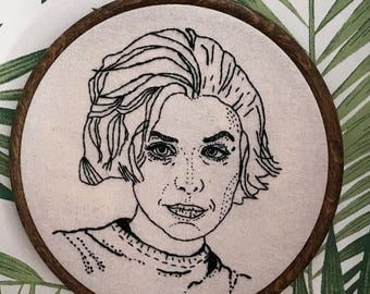 Twin Peaks Audrey Horne Hand Embroidery. Fibre Art. Hoop Art. Wall Hanging. Pop Culture. TV Gift. 90s. Home Decor.