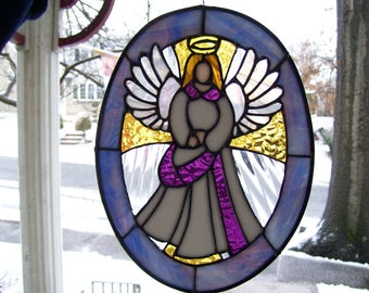 Stained Glass Angel & Cross Sun catcher