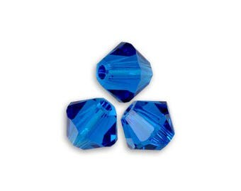 20 Swarovski bicones 4mm capri blue Crystal