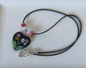Venetian Murano Necklace -- Millefiori Heart Necklace -- Feature Necklace -- Valentine