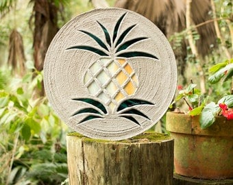 """Pretty Pineapple Stained Glass Stepping Stone, Welcome Guests to Your Garden, Patio or Back Yard With This Large 18"""" Diameter Stone, #737"""
