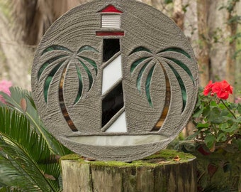 "Lighthouse Stepping Stone BIG 18"" Concrete Stained Glass Mosaic Yard Art Garden Path Ornament Garden Decor Beach House Cottage Walkway #807"
