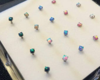Petite Prong Set Opal Nose Rings 20 gauge  Ball style
