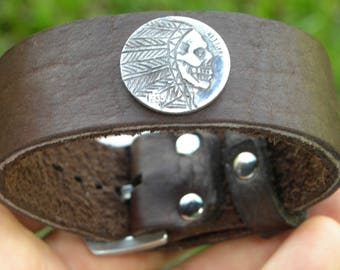 Hobo nickle  skull coin cuff Buffalo Bison leather Bracelet 1 inch wide  wristband adjustable any size wrist nice for gift for biker