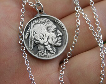 Authentic Buffalo Indian Nickel coin Various dates  necklace  pendant  handmade sterling silver 16 inch or 18 or 20 or  22 or 24 or 26 38 30