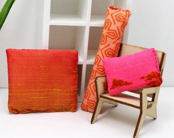 3 Pillow Set - Miniature Modern decor - Enchanting Oranges and Ombre
