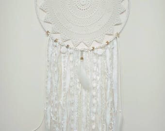White Gypsy Boho Lace Doily Dream Catcher Wall Hanging