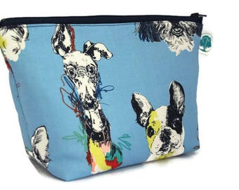 Large Cosmetic Bag - Makeup Bag - Accessory Bag - Make up Bag - Toiletry Bag - Gadget Bag -  Jewelry Pouch in Scribble dog