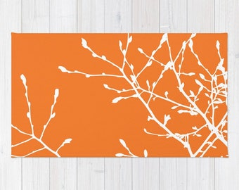 Orange Area Rug - Tree Branches Area Rug - Modern Nature Area Rug - Nursery Area Rug - Bedroom Area Rug - Living Room Area Rug