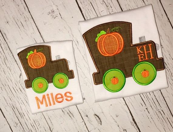 Pumpkin train appliqué, pumpkin train, pumpkin shirt, train shirt, fall short, pumpkin train shirt