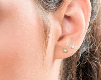 SALE15% Tiny Flower Earrings, Tiny Gold Earrings, Small Stud Silver Earrings, Flower Earrings, Boho Earrings, Set of 3 Earring, Little Stud