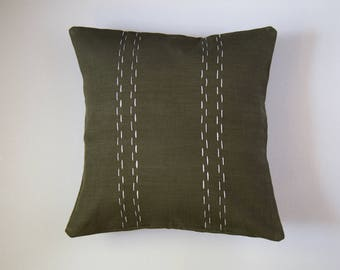 Linen Pillow Cover | Double Parallel Lines | Green