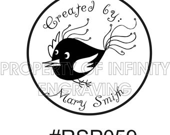Personalized - Created by - Cute Bird - Rubber Stamp