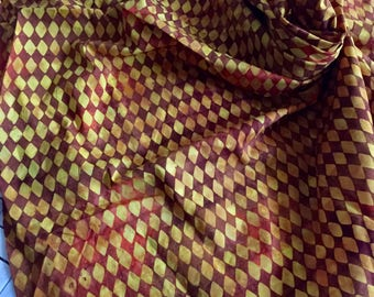 Yellow Red Batik Cotton Print Fabric Remnant
