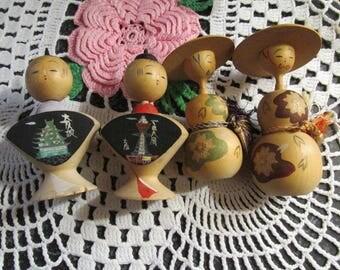Vintage Lot of Kokeshi Wooden Japanese Dolls Handpainted Lot