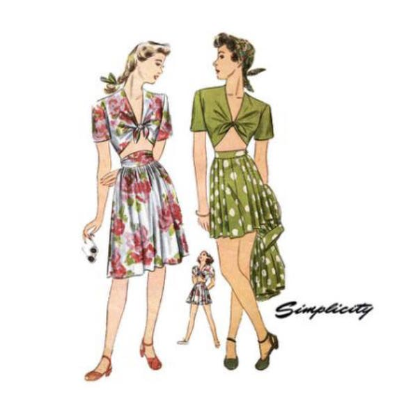 Simplicity 1020 Vintage Reproduction Midriff Top, Shorts, and Skirt Playsuit Set Circa 1944