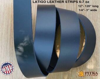 "Black  Leather Strips - Black Latigo Leather 6-7 oz (2.4 - 2.8 mm) up to 120"" long- Black  Leather Strip -  Craft Leather Strips made in USA"
