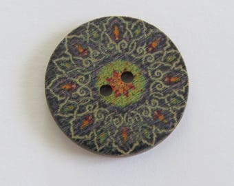 Mandala style gray and green patterned wooden button