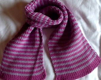 Set of 2 hand knitted striped scarves