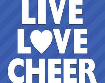 Live Love Cheer Heart Vinyl Decal Sticker