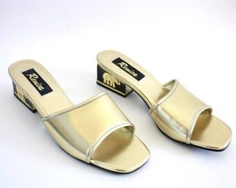 Vintage Gold and Black Elephant Emblem Slip On Heels 9
