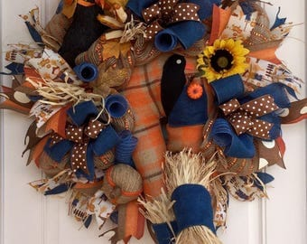 XL Burlap Mesh Fall Scarecrow Wreath, Front Door Wreath, Fall Decor, Halloween, Scarecrow Booty, Rustic Fall Wreath