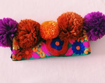Purple and Orange Pom Pom Embroidered Headdress-Festival,birthday,colourful,fun,party,pom poms.