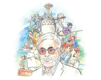 Hayao Miyazaki A4 Art Print